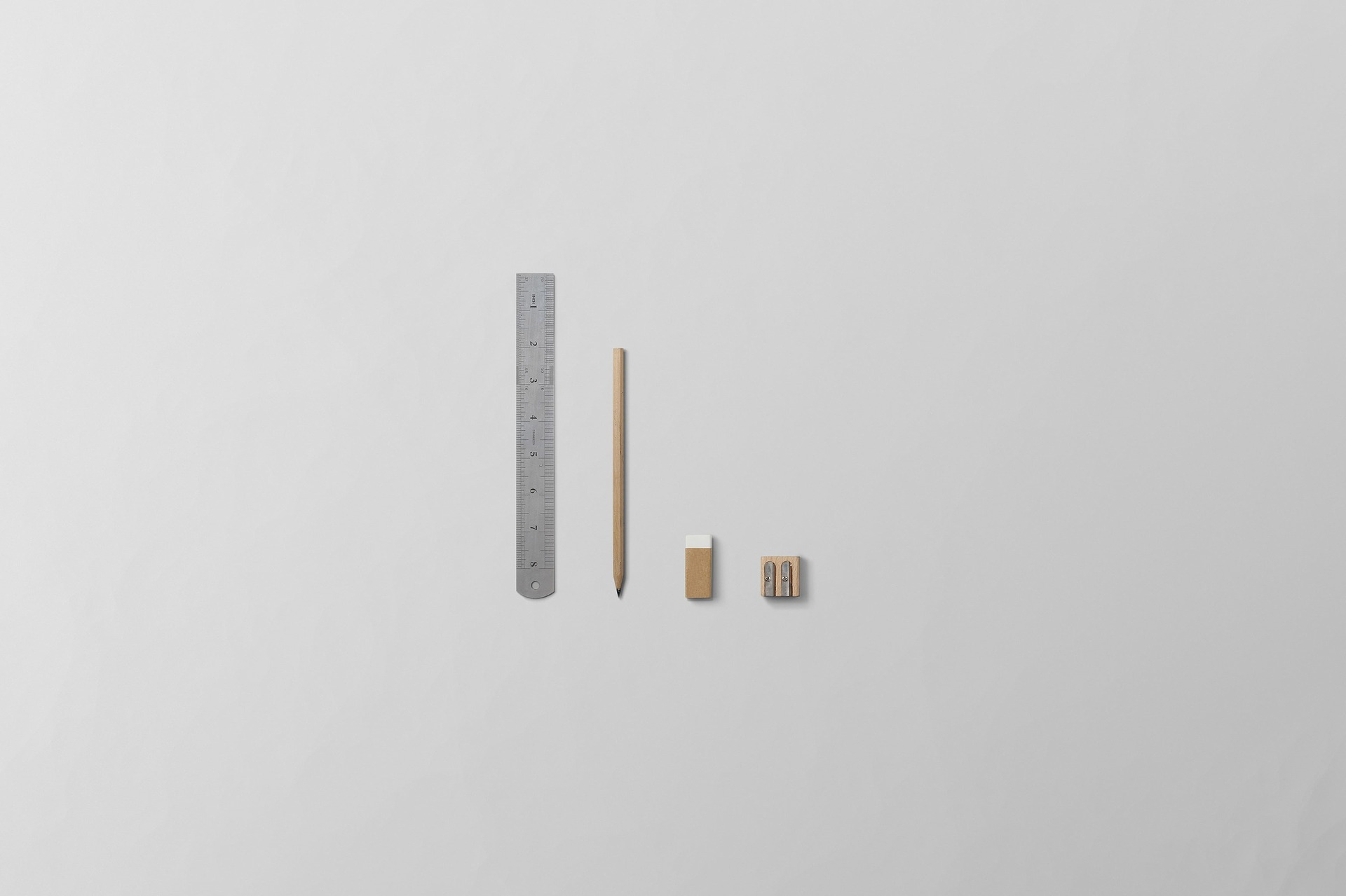 Ruler, Pen, Eraser, Sharper aligned in scalable order
